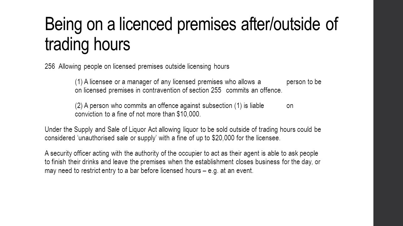 Being on a licenced premises after/outside of trading hours