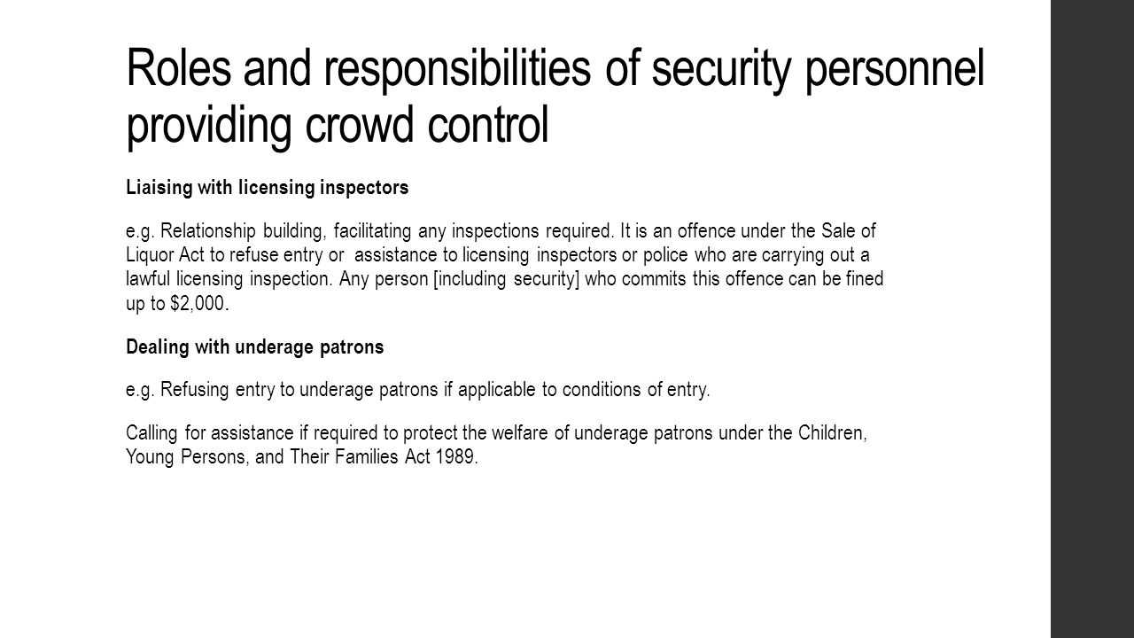 Roles and responsibilities of security personnel providing crowd control