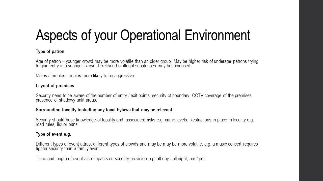 Aspects of your Operational Environment