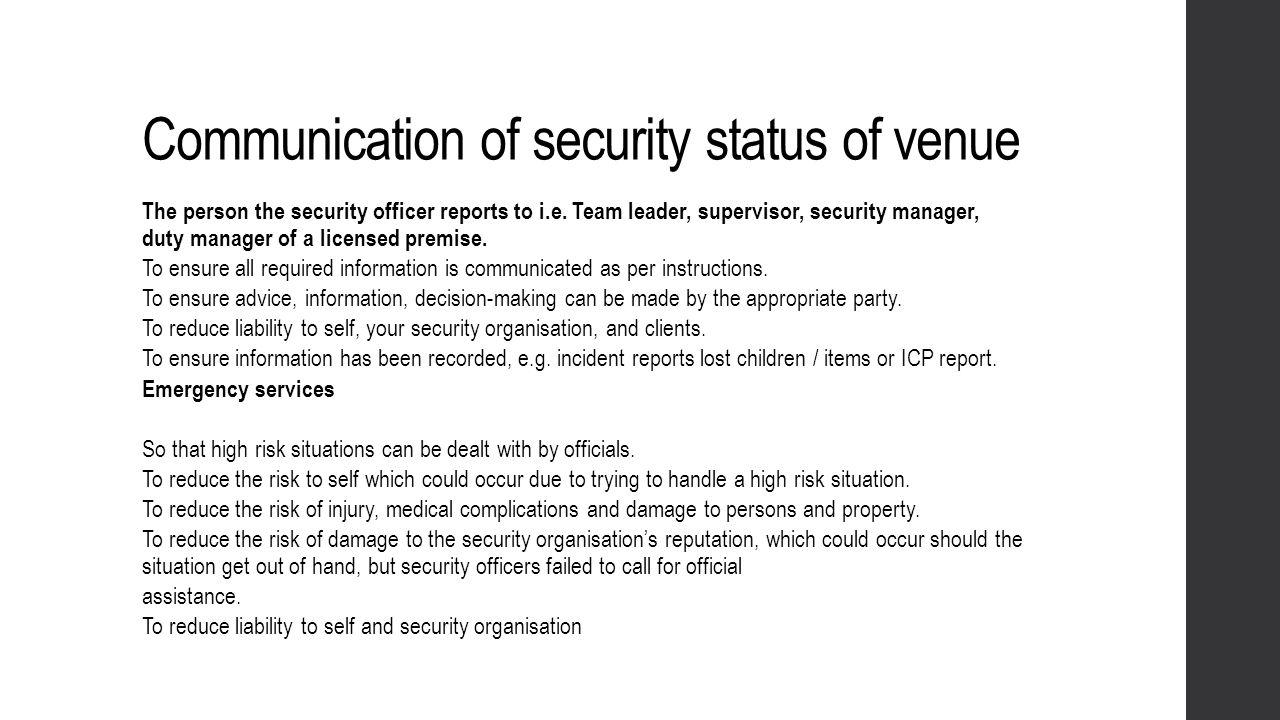 Communication of security status of venue