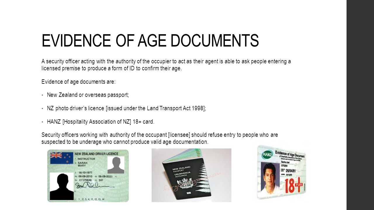 EVIDENCE OF AGE DOCUMENTS