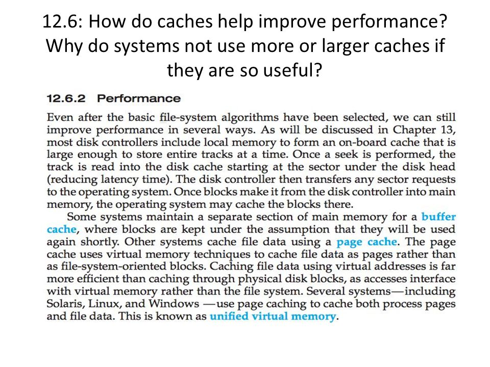12. 6: How do caches help improve performance