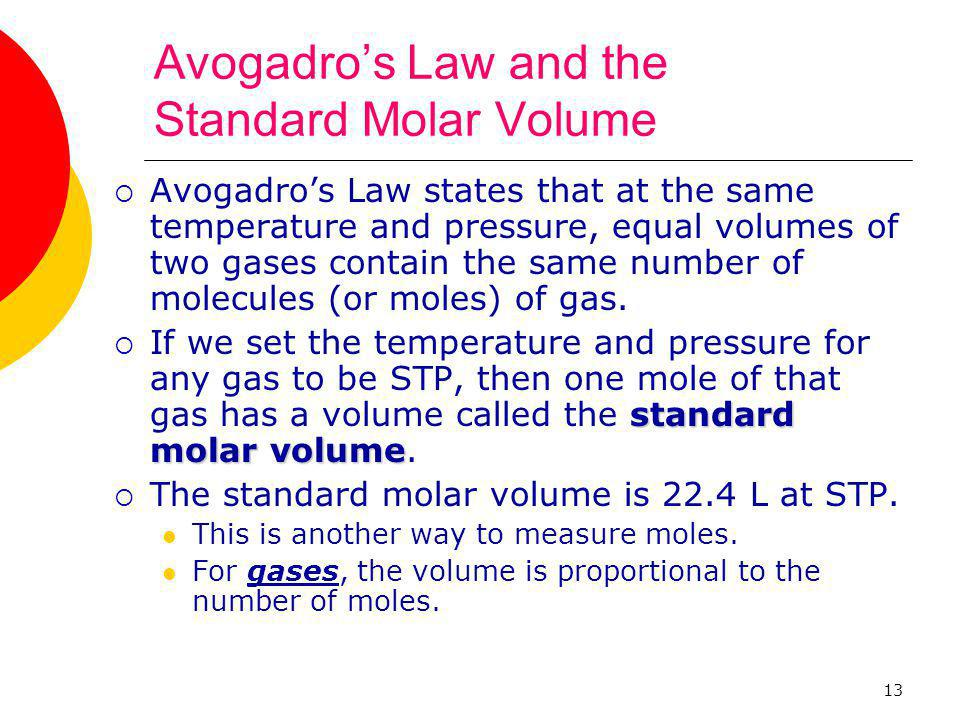 Avogadro's Law and the Standard Molar Volume