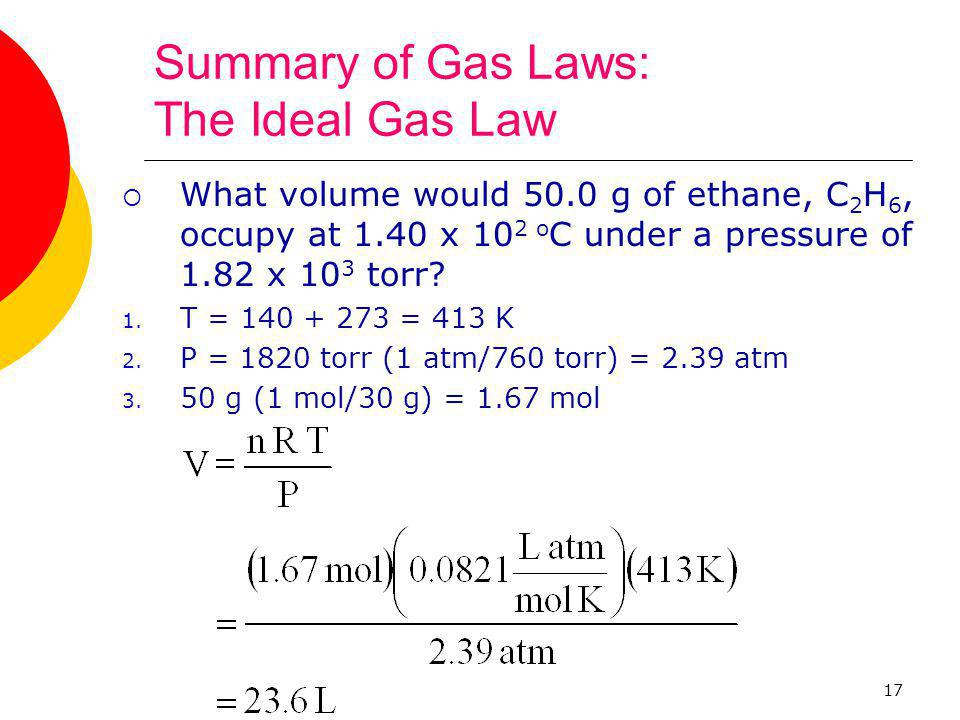 Summary of Gas Laws: The Ideal Gas Law