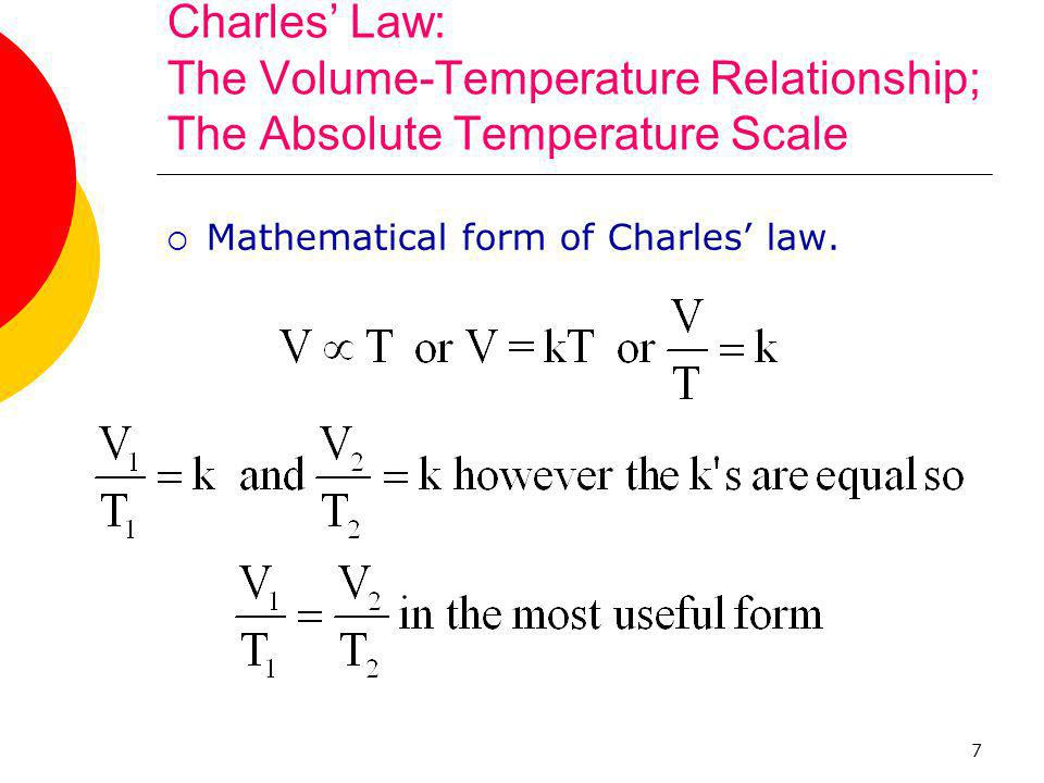 Charles' Law: The Volume-Temperature Relationship; The Absolute Temperature Scale