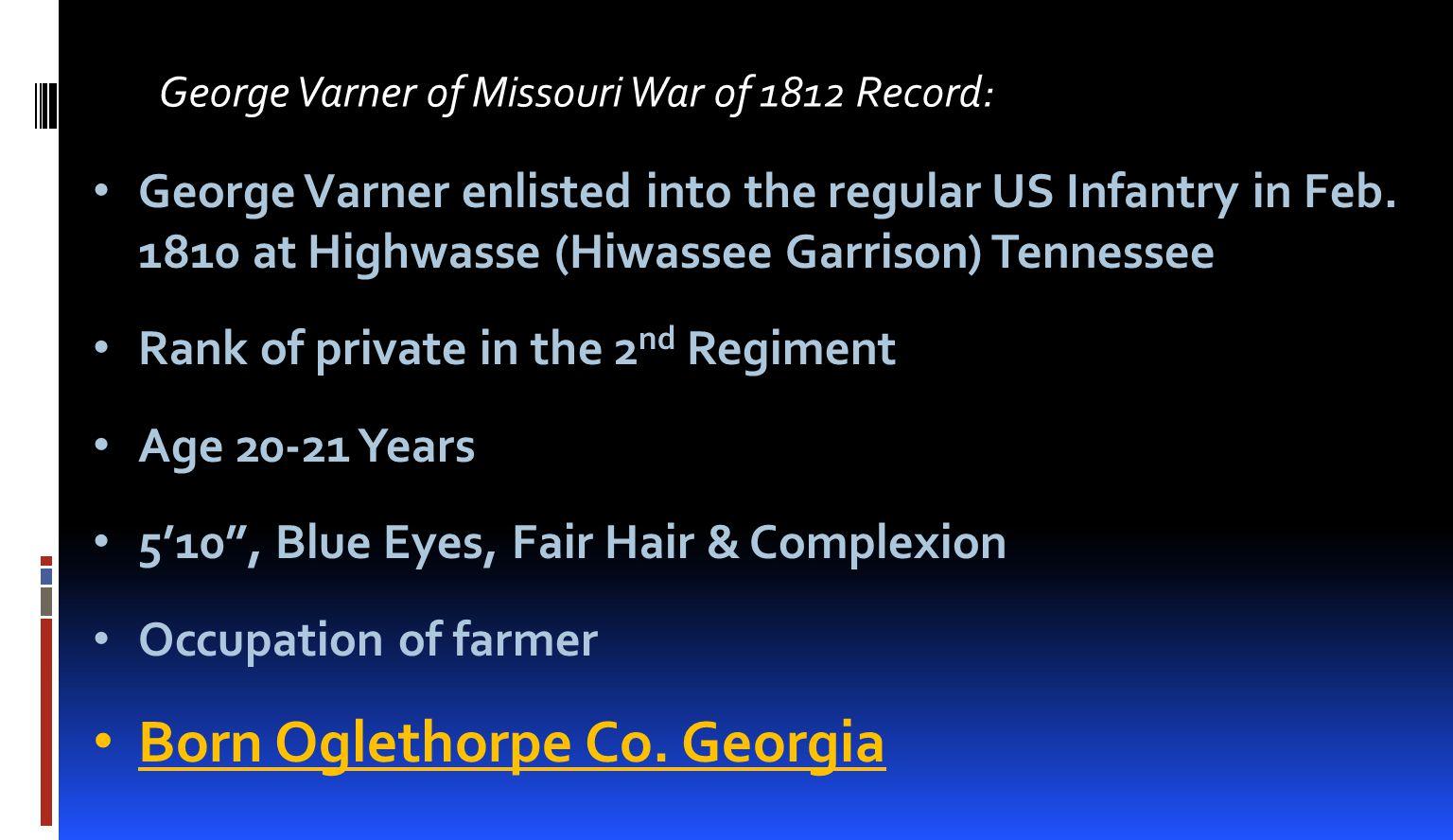 Born Oglethorpe Co. Georgia