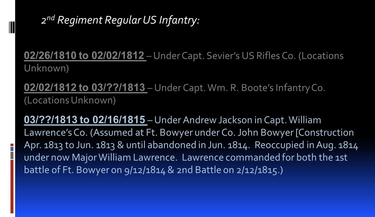 2nd Regiment Regular US Infantry: