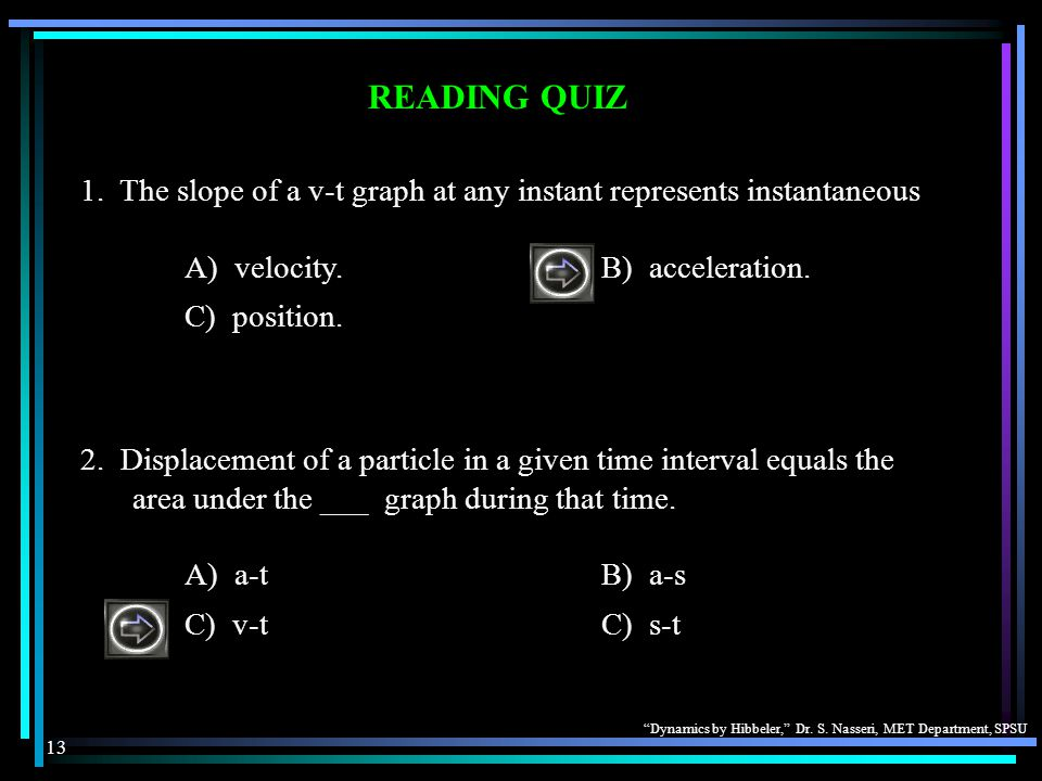 READING QUIZ 1. The slope of a v-t graph at any instant represents instantaneous. A) velocity. B) acceleration.