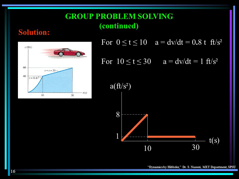 GROUP PROBLEM SOLVING (continued) Solution: For 0 ≤ t ≤ 10 a = dv/dt = 0.8 t ft/s². For 10 ≤ t ≤ 30 a = dv/dt = 1 ft/s².