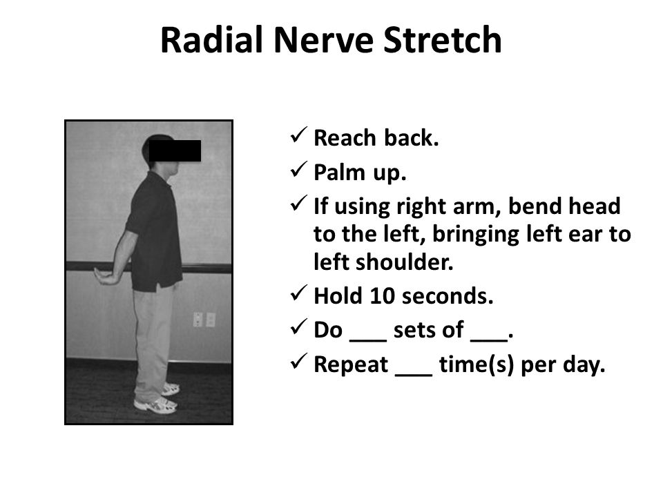 Radial Nerve Stretch Reach back. Palm up.