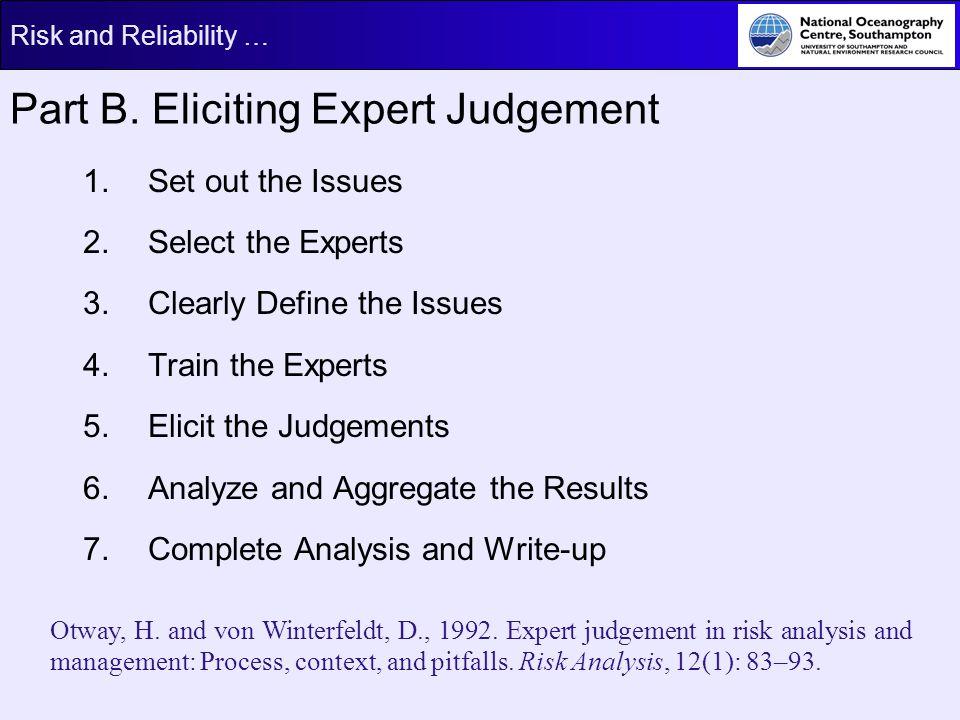 Part B. Eliciting Expert Judgement