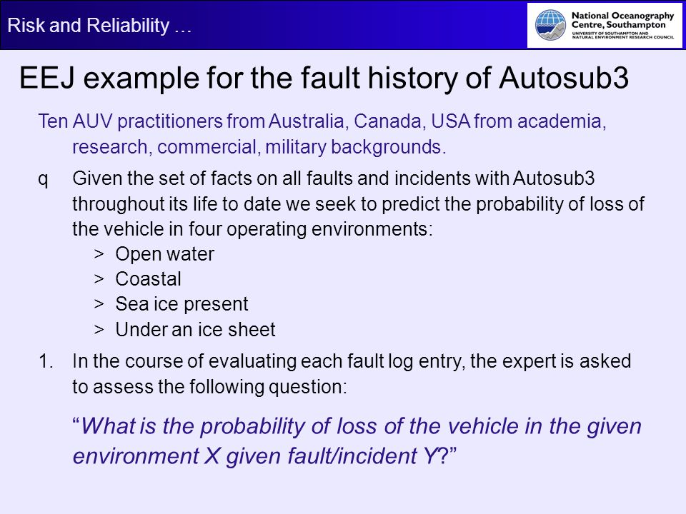 EEJ example for the fault history of Autosub3