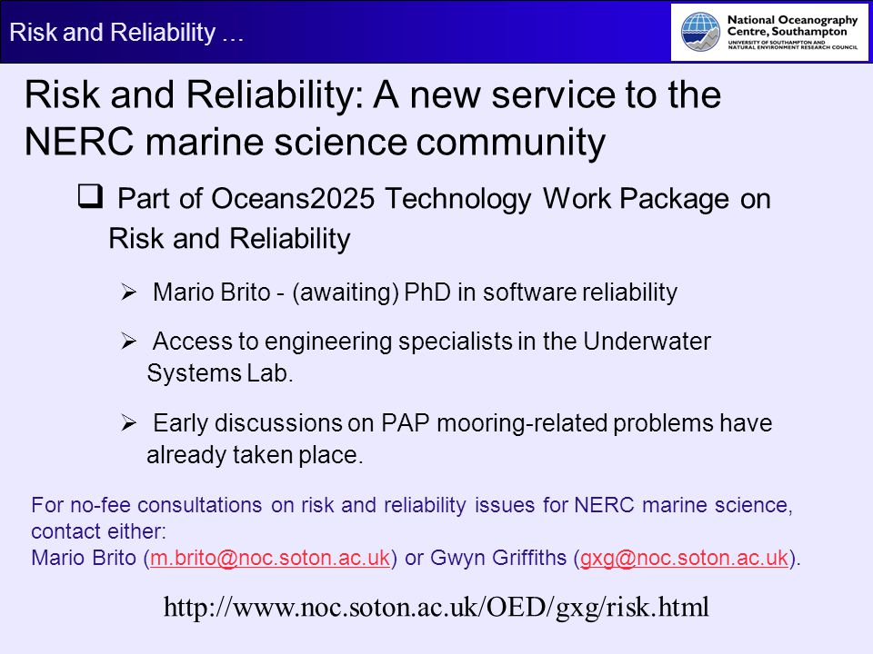 Risk and Reliability: A new service to the NERC marine science community