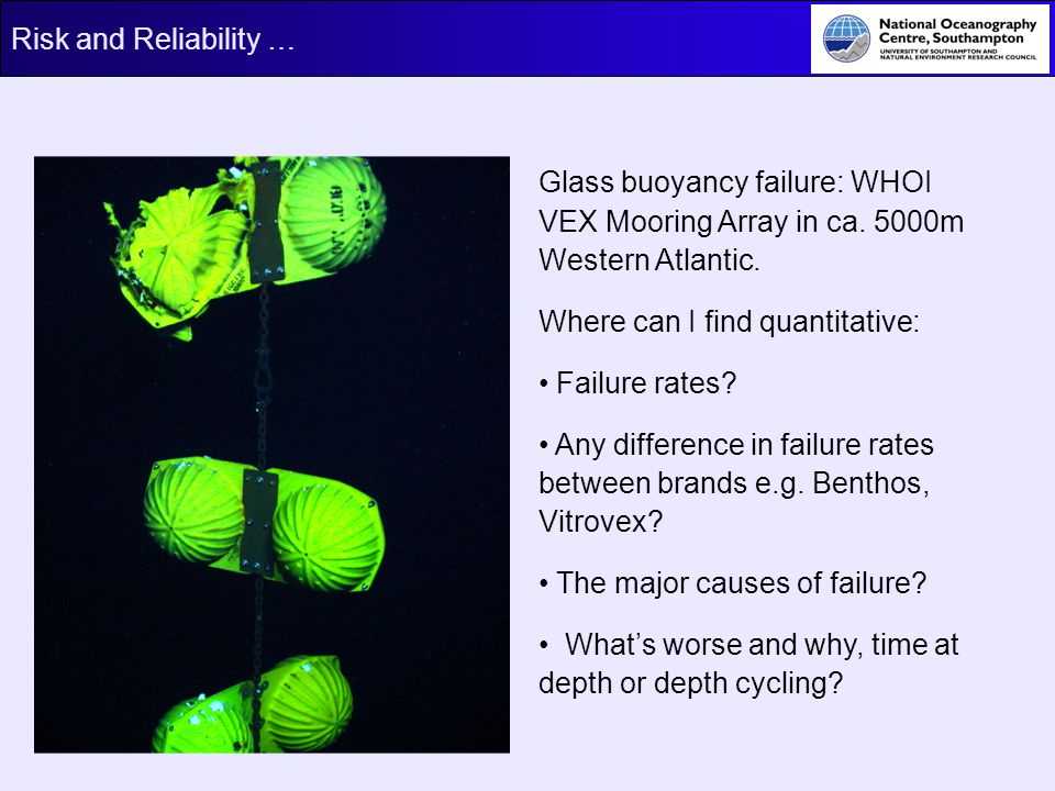 Glass buoyancy failure: WHOI VEX Mooring Array in ca