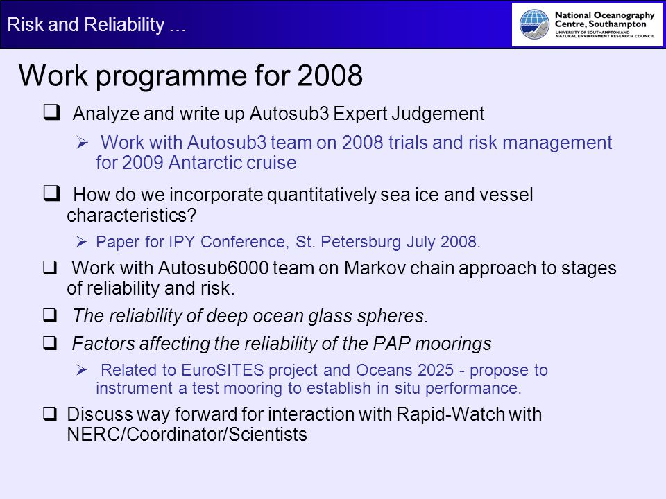 Work programme for 2008 Analyze and write up Autosub3 Expert Judgement