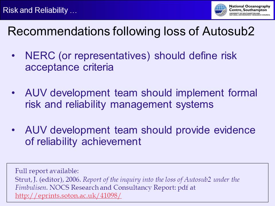 Recommendations following loss of Autosub2