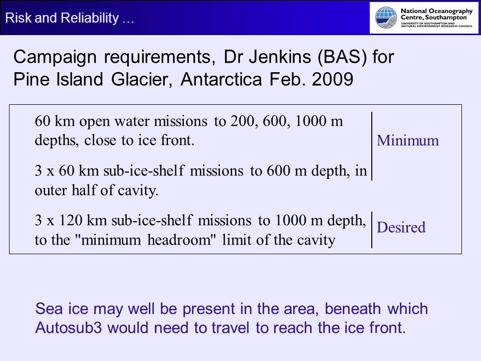 Campaign requirements, Dr Jenkins (BAS) for Pine Island Glacier, Antarctica Feb. 2009