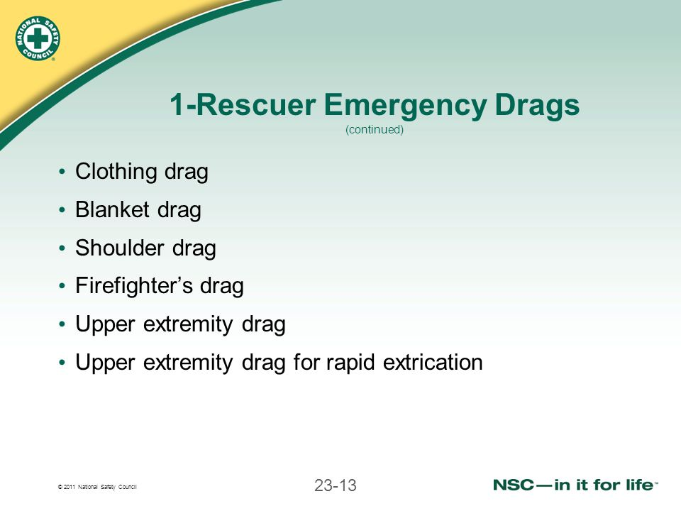 1-Rescuer Emergency Drags (continued)