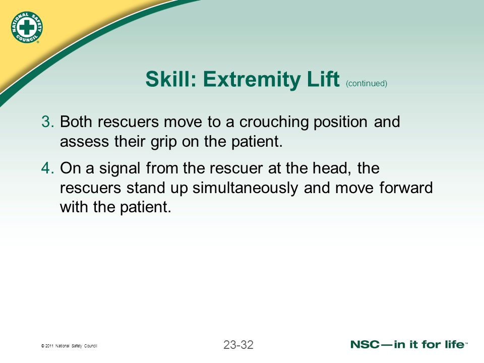 Skill: Extremity Lift (continued)