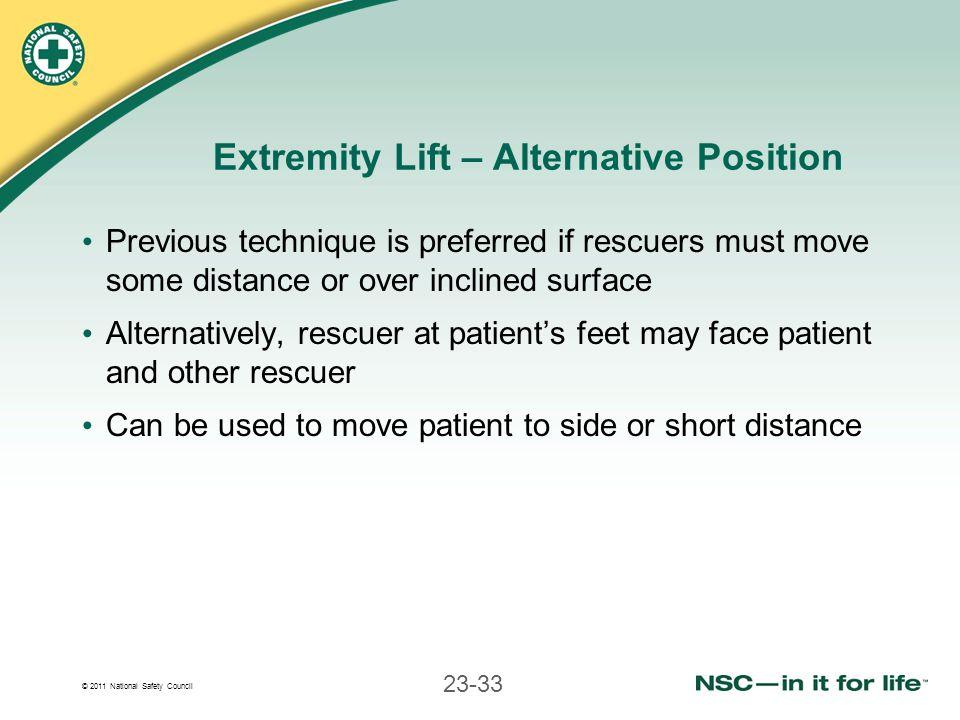 Extremity Lift – Alternative Position