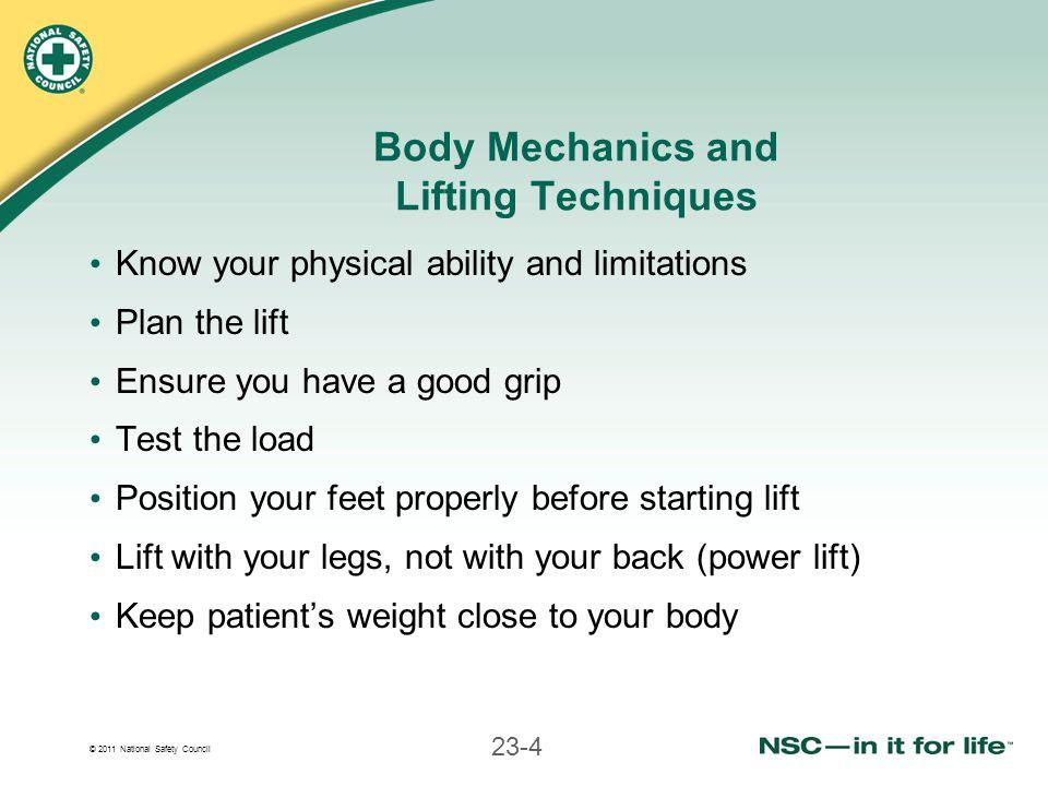 Body Mechanics and Lifting Techniques