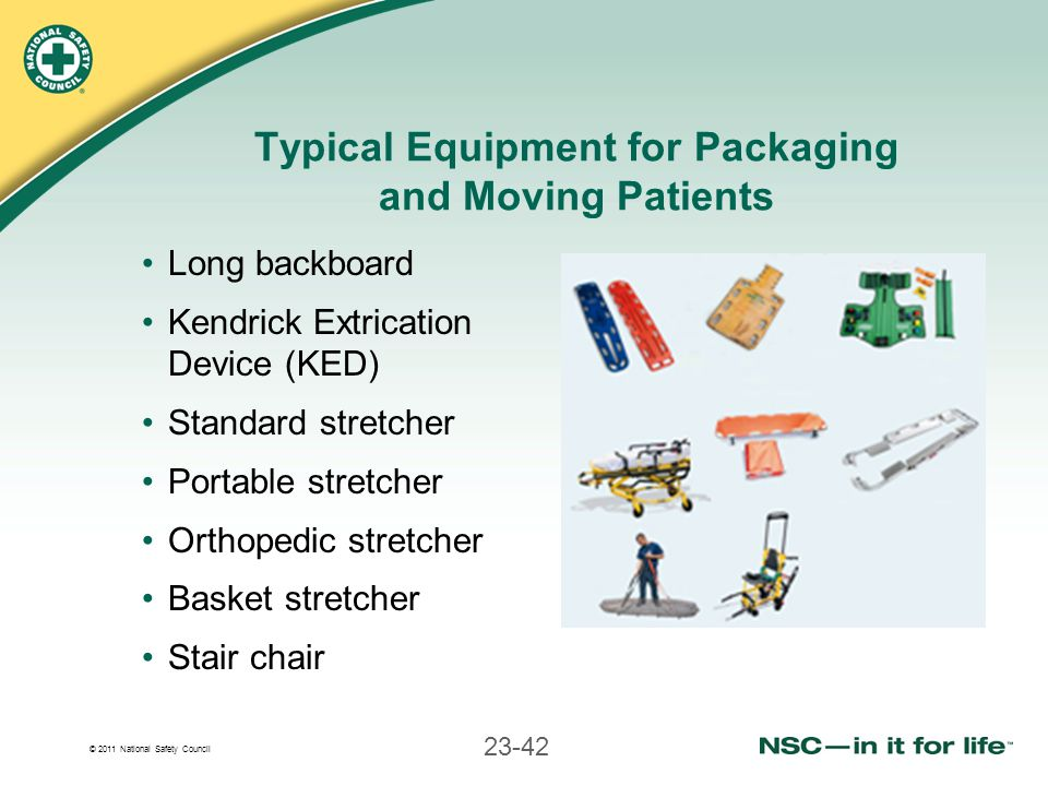 Typical Equipment for Packaging and Moving Patients