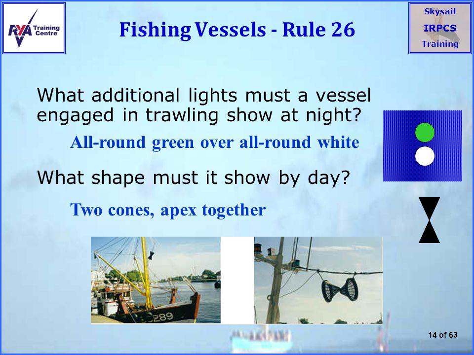 Fishing Vessels - Rule 26 What additional lights must a vessel engaged in trawling show at night What shape must it show by day
