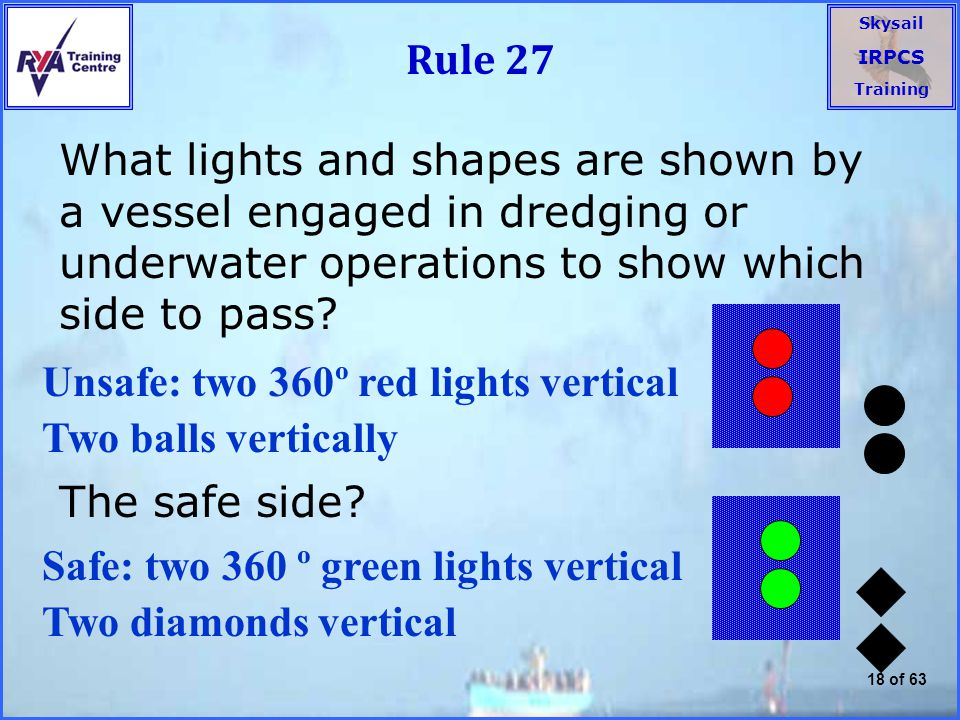 Rule 27 What lights and shapes are shown by a vessel engaged in dredging or underwater operations to show which side to pass