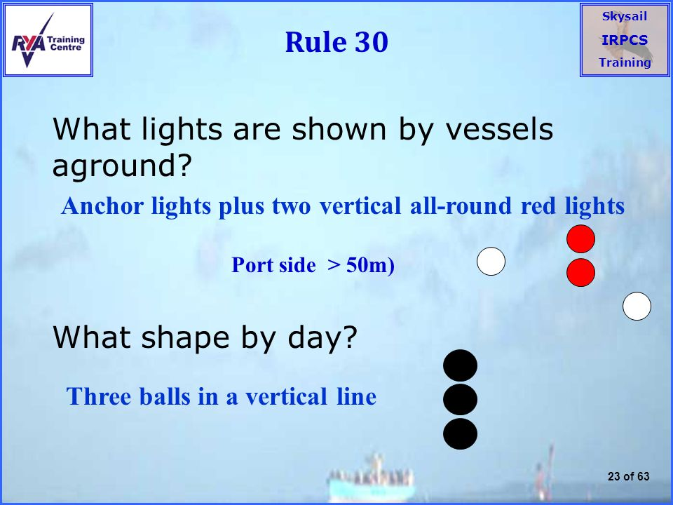 What lights are shown by vessels aground