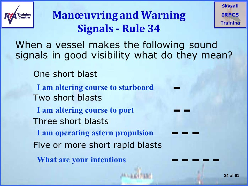 Manœuvring and Warning Signals - Rule 34