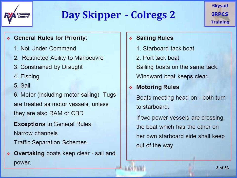 Day Skipper - Colregs 2 General Rules for Priority: