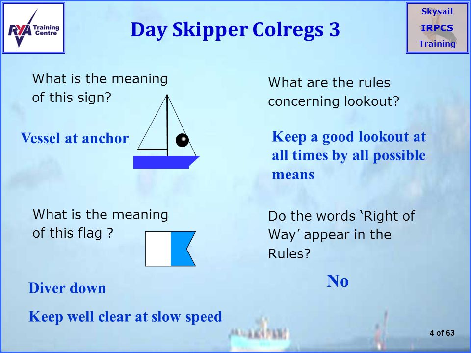Day Skipper Colregs 3 What is the meaning of this sign What are the rules concerning lookout Vessel at anchor.