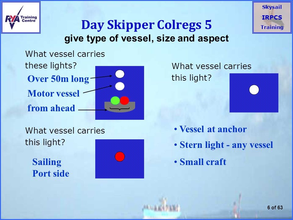 Day Skipper Colregs 5 give type of vessel, size and aspect