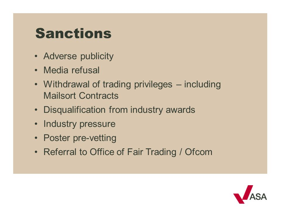 Sanctions Adverse publicity Media refusal