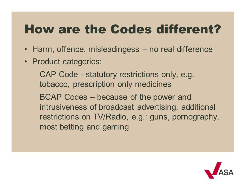 How are the Codes different