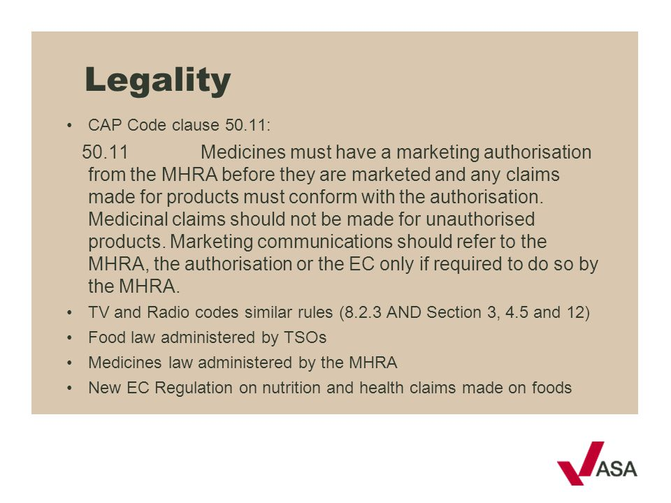 Legality CAP Code clause 50.11:
