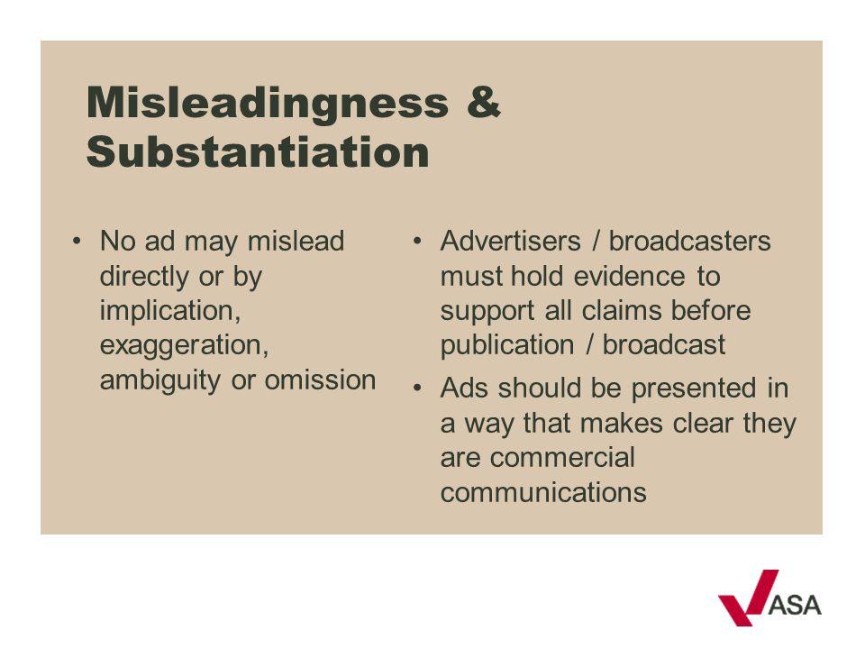 Misleadingness & Substantiation