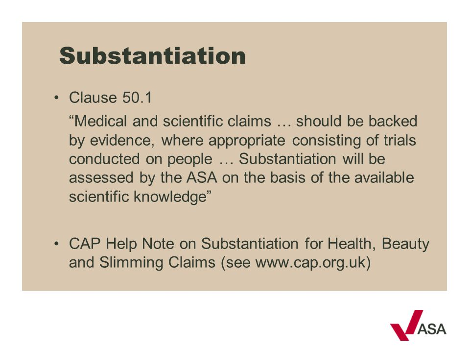 Substantiation Clause 50.1