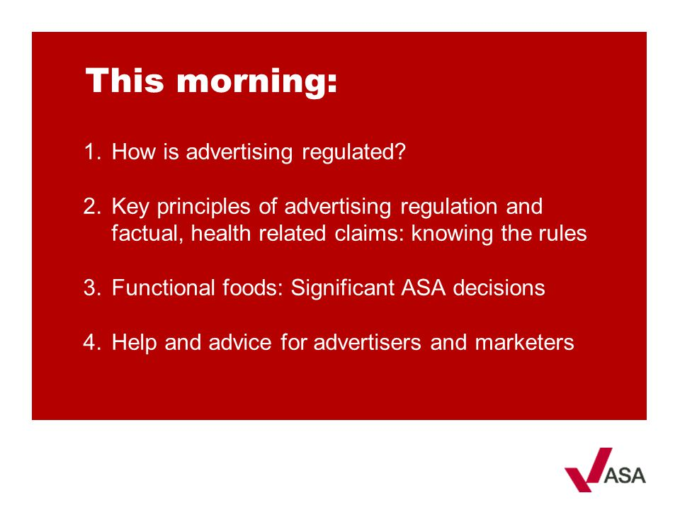 This morning: How is advertising regulated