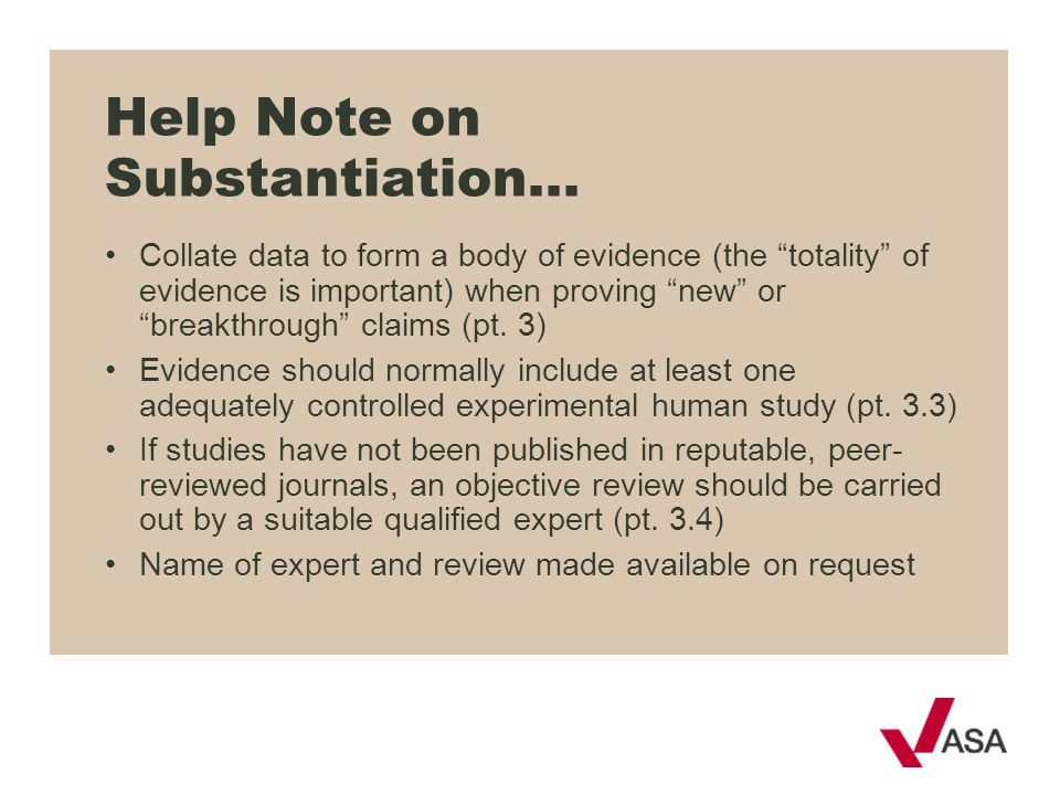 Help Note on Substantiation…