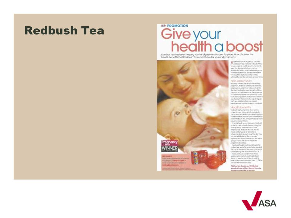 Redbush Tea We'll take a look at medicinal claims first