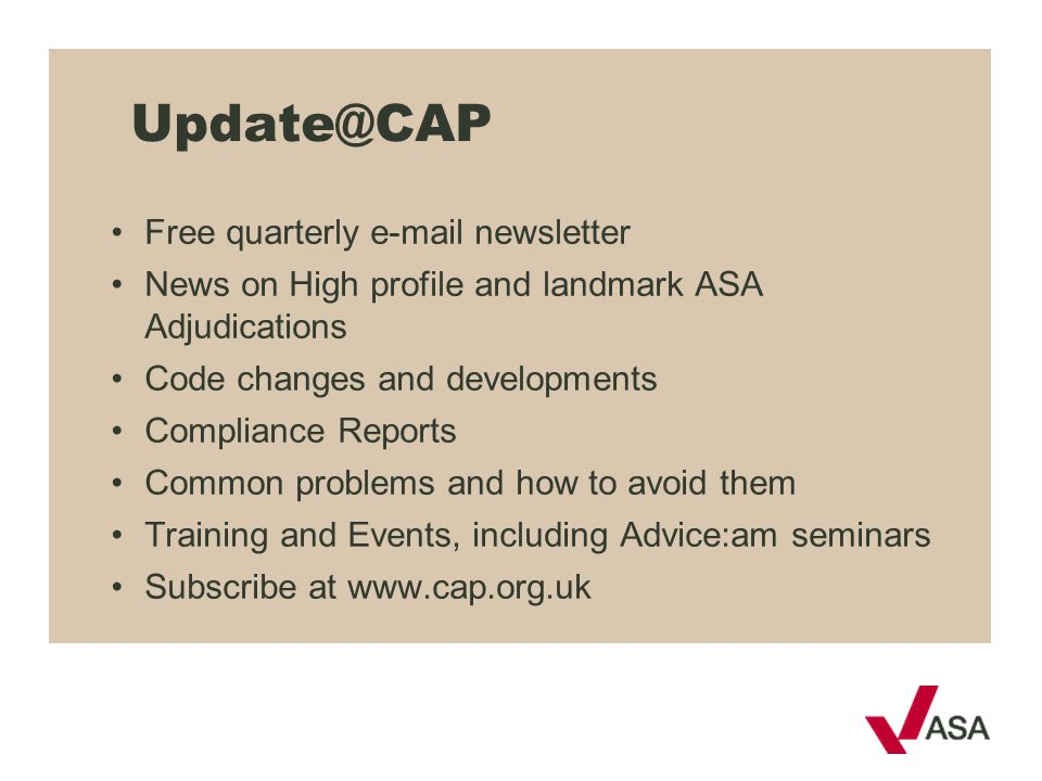 Update@CAP Free quarterly e-mail newsletter