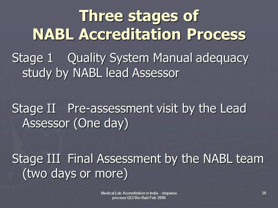 Three stages of NABL Accreditation Process
