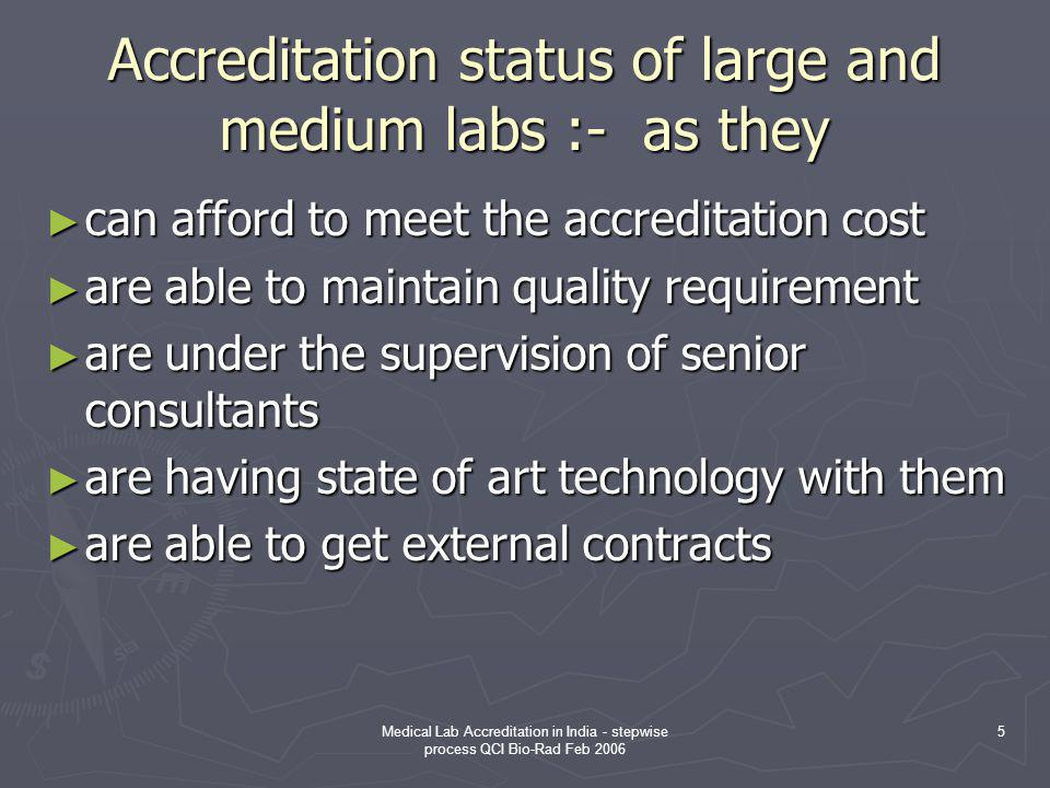 Accreditation status of large and medium labs :- as they