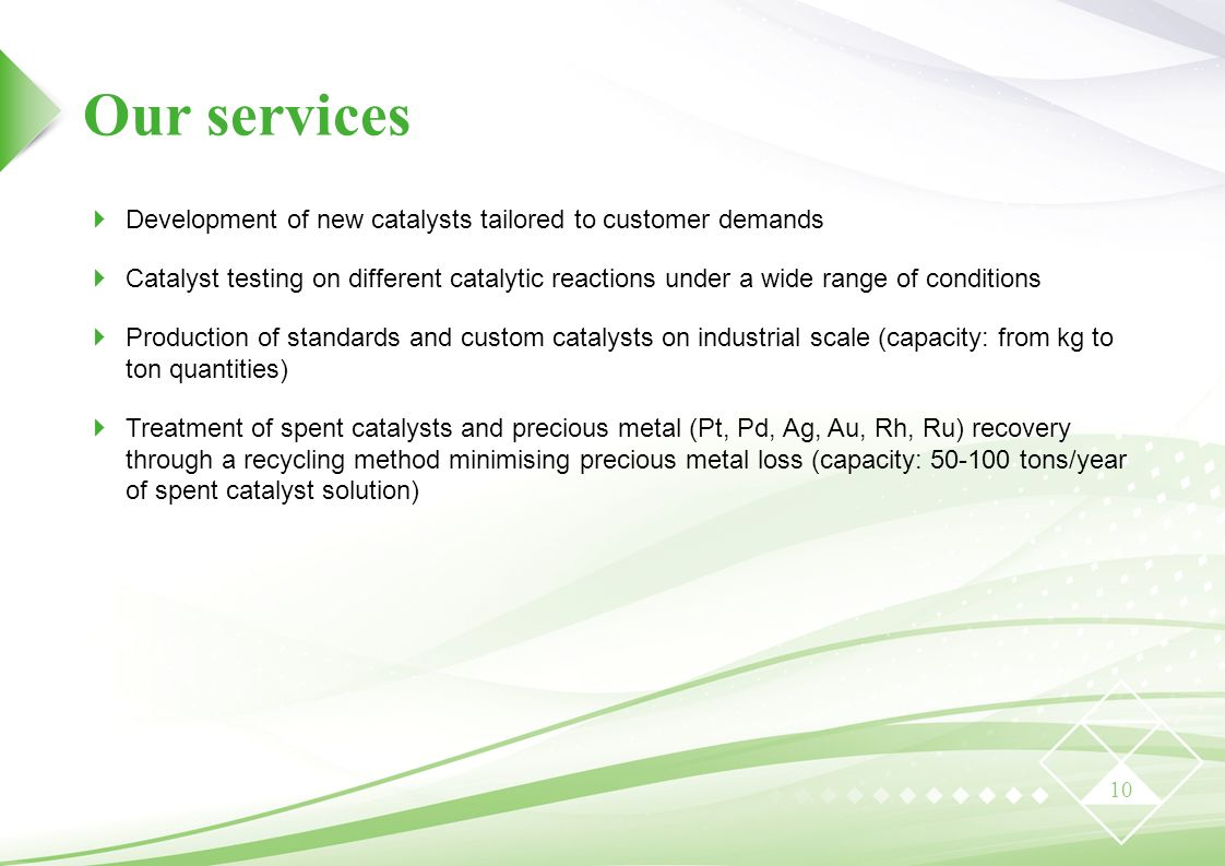 Our services Development of new catalysts tailored to customer demands