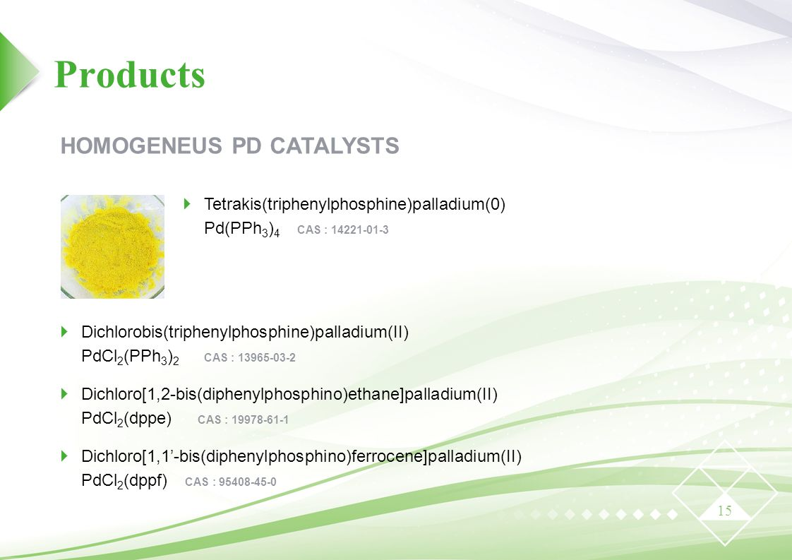 Products HOMOGENEUS PD CATALYSTS
