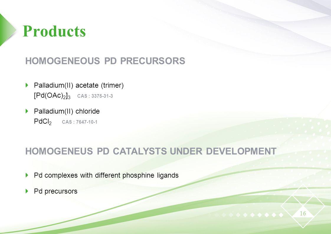 Products HOMOGENEOUS PD PRECURSORS
