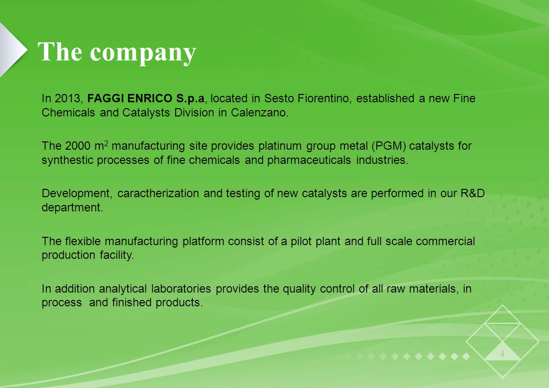 The company In 2013, FAGGI ENRICO S.p.a, located in Sesto Fiorentino, established a new Fine Chemicals and Catalysts Division in Calenzano.