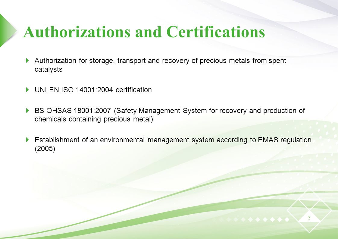 Authorizations and Certifications