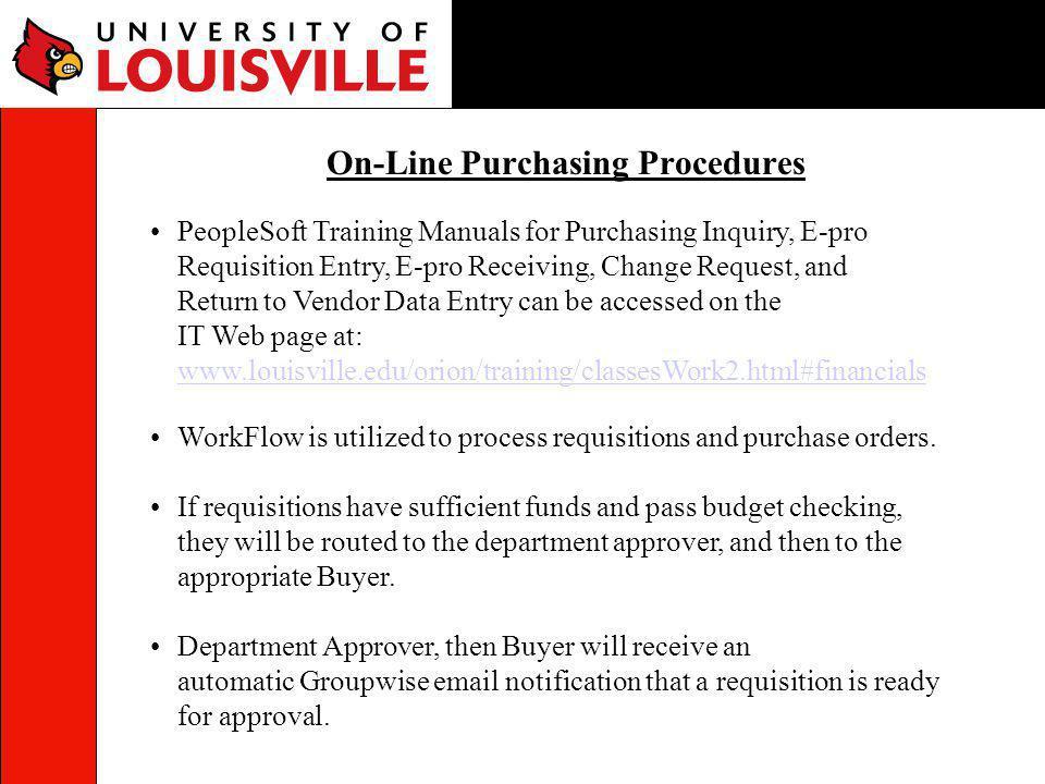 On-Line Purchasing Procedures